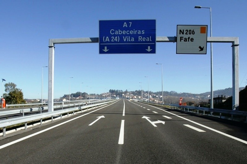 BRAGA: Troço da A7 entre Fafe e Basto vai ter trânsito condicionado à noite devido a obras
