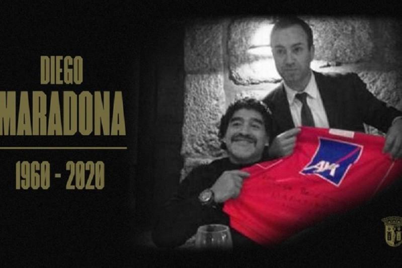 Óbito/Maradona: Sporting de Braga lamenta morte de