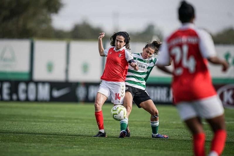 Golo tardio SC Braga frente ao Sporting na Liga feminina